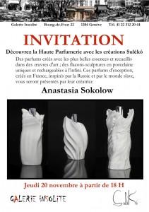 Invitation au Vernissage le 20 Novembre 2014 à Genève.
